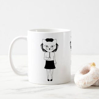 a Girl With The Cat Mask Coffee Mug