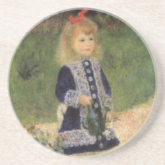 A Girl with Watering Can by Pierre Renoir Drink Coaster