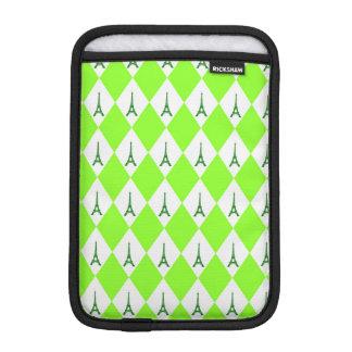 A girly neon green diamond eiffel tower pattern iPad mini sleeves