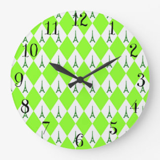 A girly neon green diamond eiffel tower pattern large clock
