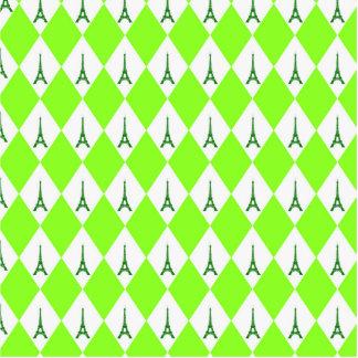 A girly neon green diamond eiffel tower pattern standing photo sculpture