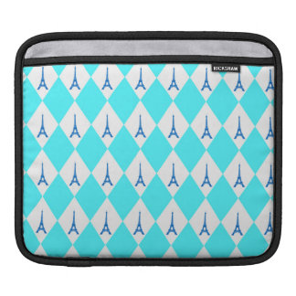 A girly neon teal diamond eiffel tower pattern sleeve for iPads