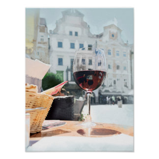 A Glass of Wine in the Italian Piazza Poster