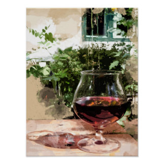 A Glass of Wine in the Summer Garden Poster