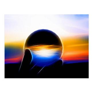 A glass sphere in neon styles postcard