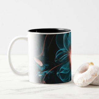 A Glitched Fractal Flower of a Thousand Questions Two-Tone Coffee Mug
