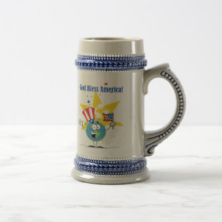 A Globe Cartoon Character with American Patriotic Beer Stein