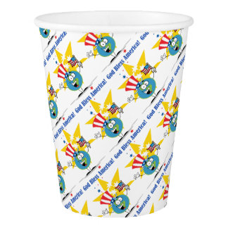 A Globe Cartoon Character with American Patriotic Paper Cup