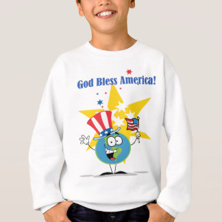 A Globe Cartoon Character with American Patriotic Sweatshirt
