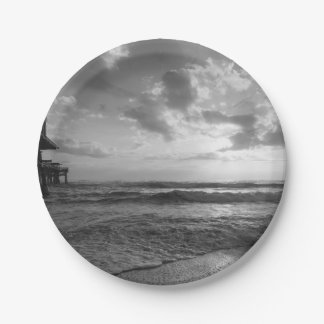 A Glorious Beach Morning Grayscale 7 Inch Paper Plate