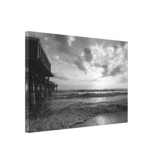 A Glorious Beach Morning Grayscale Canvas Print