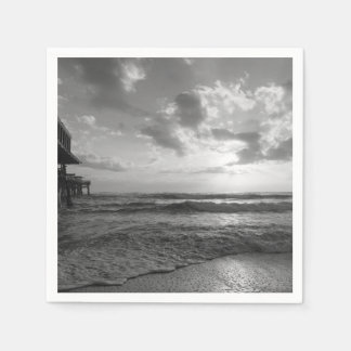 A Glorious Beach Morning Grayscale Disposable Napkins