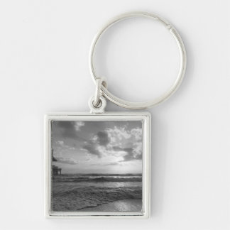 A Glorious Beach Morning Grayscale Keychain