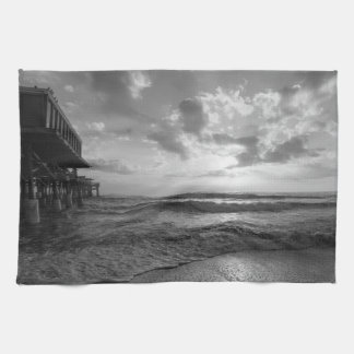 A Glorious Beach Morning Grayscale Kitchen Towels