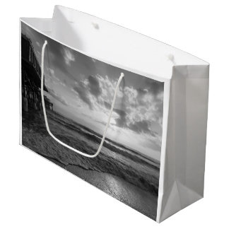 A Glorious Beach Morning Grayscale Large Gift Bag
