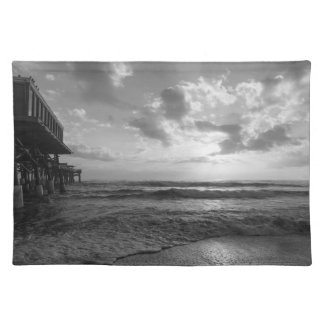 A Glorious Beach Morning Grayscale Placemat