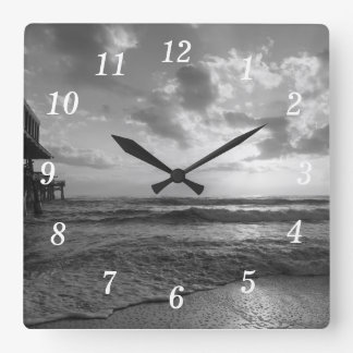 A Glorious Beach Morning Grayscale Square Wall Clock