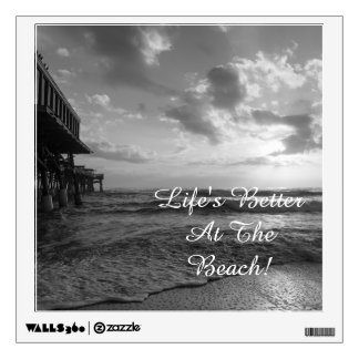 A Glorious Beach Morning Grayscale Wall Decal