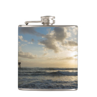 A Glorious Beach Morning Hip Flask