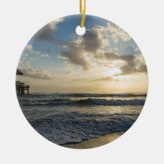 A Glorious Beach Morning Round Ceramic Ornament