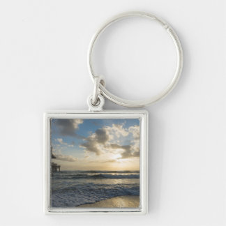 A Glorious Beach Morning Silver-Colored Square Keychain