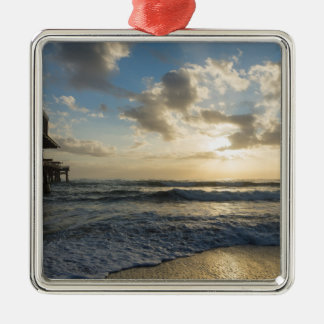 A Glorious Beach Morning Silver-Colored Square Ornament