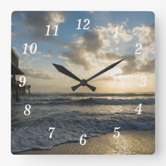 A Glorious Beach Morning Square Wall Clock