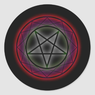 A glowing pentagram classic round sticker