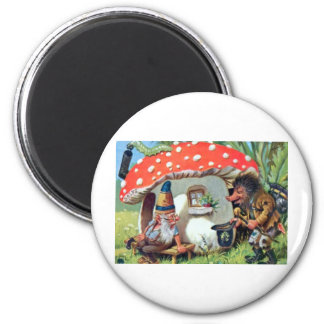 A Gnome Living in a Mushroom Cottage 2 Inch Round Magnet