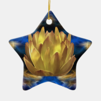 A gold lotus flower and reflections ceramic star ornament