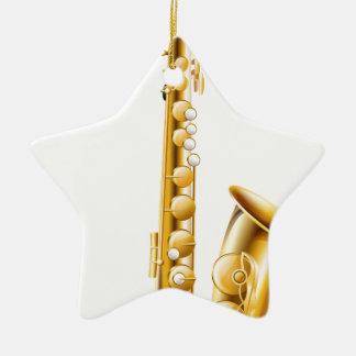 A gold saxophone ceramic star ornament
