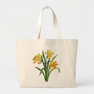A Golden Host of Embroidered Daffodils Jumbo Tote Bag