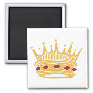 A Golden King's Crown With Jewels Square Magnet