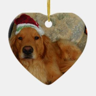 A Golden Retriever at Christmas with Santa Hat Ceramic Ornament