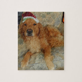 A Golden Retriever at Christmas with Santa Hat Jigsaw Puzzle