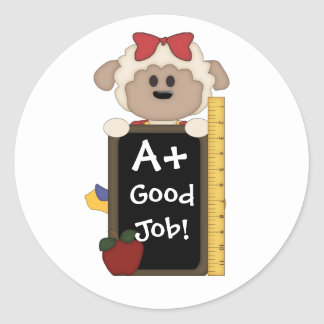 A+ Good Job!-Cute Sheep Round Sticker