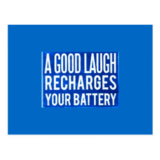 A GOOD LAUGH RECHARGES YOUR BATTERIES HAPPINESS AD POSTCARD