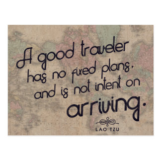 A good traveler - Lao Tzu Travel quote postcard