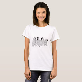 A gossip of macaw parrots. Black and white art T-Shirt