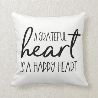 A grateful heart, is a happy heart Script Throw Pillow