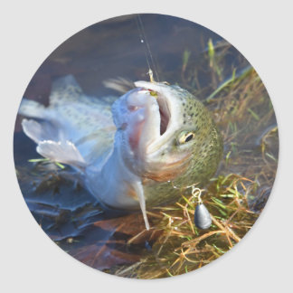 A Great Day Trout Fishing Classic Round Sticker