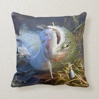 A Great Day Trout Fishing Throw Pillow