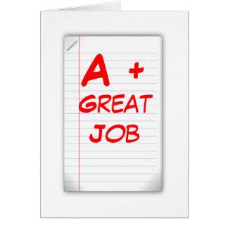 A+ Great Job (Greeting Card) Card