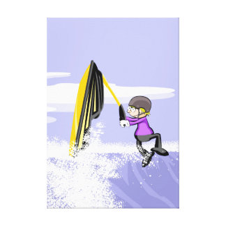A great jump taken hold of the arm of its jet ski canvas print