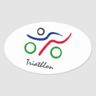 A great Triathlon gift for your friend or family Oval Sticker