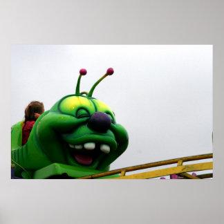 A green caterpillar goofy fair ride image poster