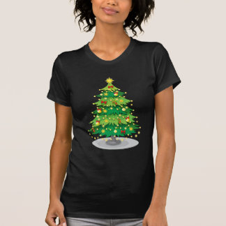 A green christmas tree with sparkling lights T-Shirt