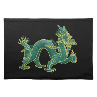 A Green Dragon with Gold Trim Cloth Placemat