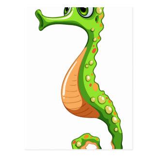 A green seahorse postcard