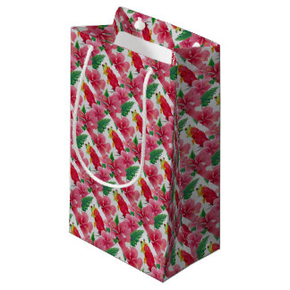 A green tree frog among pink hibiscus small gift bag